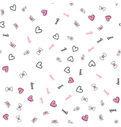 seamless pattern with valentine day elements vector image