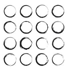 set black circles grunge vector image