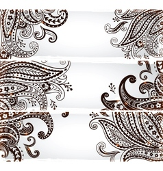 Set bookmarks with elegant paisley ornaments vector