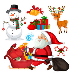 set christmas objects and characters vector image