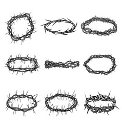 Set hand drawn thorn crowns wreaths with sharp vector