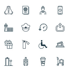 Set of 16 travel icons includes present siren vector