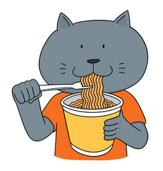 Set of cat eat noodle vector