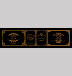 Set of gold certificate frame template with corner vector
