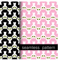 Set of seamless pattern with white cat vector