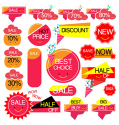 set sale cute ribbons and banners vector image