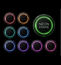 shiny banner set colorful neon light circle frame vector image
