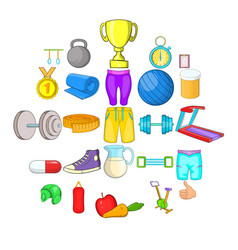 sport games icons set cartoon style vector image