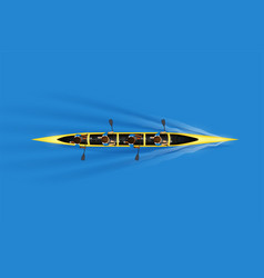 Sprint four canoe with paddlers vector
