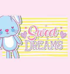 Sweet dreams card with cute bunny vector