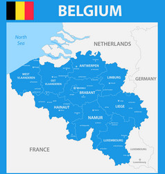 The detailed map of the belgium with regions or vector