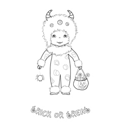 Trick or treat coloring page with cute monster vector
