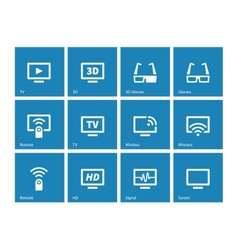 TV icons on blue background vector image