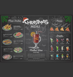 vintage chalk drawing christmas menu design vector image