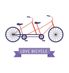 Vintage tandem bicycle icon vector
