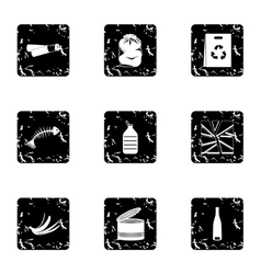 Waste icons set grunge style vector