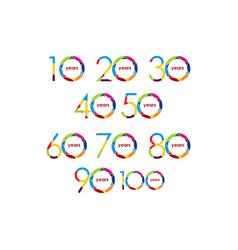 Year anniversary set logo template design vector
