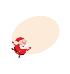 Cute and funny Santa Claus ice skating vector image