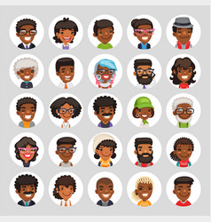 flat african american round avatars on white vector image