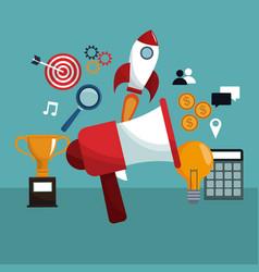 megaphone digital marketing creativity icons vector image
