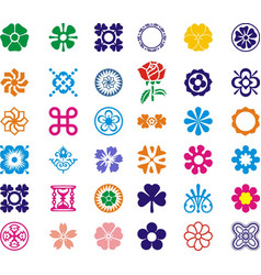 most beautul flower set icon images vector image vector image