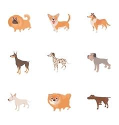 Pet dog icons set cartoon style vector image