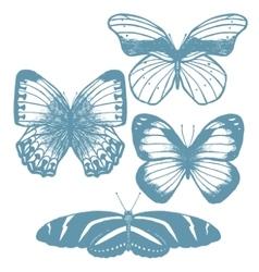 set of hand-drawn butterflies vector image vector image
