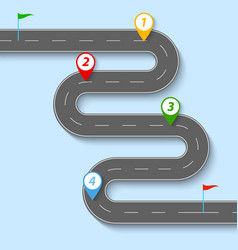 a winding road with road signs and flags vector image vector image