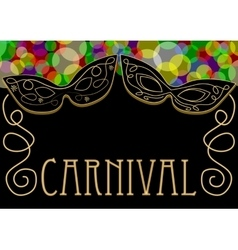Carnival background mask decorated with gold vector image