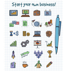 colored doodle business start elements concept vector image vector image