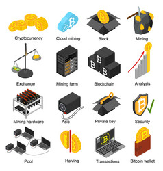 Cryptocurrency mining blockchain 3d icons set vector