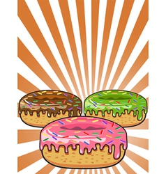 donuts on Sunburst background vector image