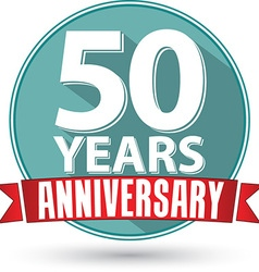 Flat design 50 year anniversary label with red vector image vector image