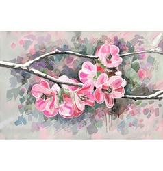 original painting of flower blooming spring vector image vector image