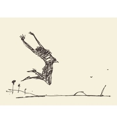 Sketch of a silhouette jumping person vector image