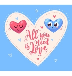 Two cute hearts in love vector