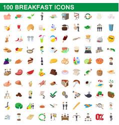 100 breakfast icons set cartoon style vector image