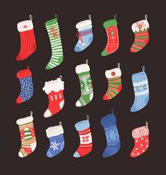 hand drawn set of christmas socks for gifts vector image vector image