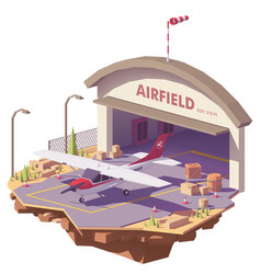 low poly airfield with hangar and airplane vector image vector image