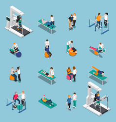physiotherapy rehabilitation isometric people vector image vector image