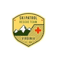 Ski Patrol Label Retro Mountain winter sports vector image vector image