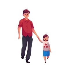 Young dad holding his little daughter hand and vector image vector image