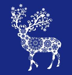 Blue chirstmas deer vector image vector image