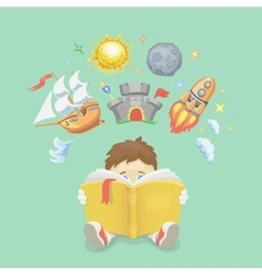 Imagination concept boy reading a book rocket vector image vector image