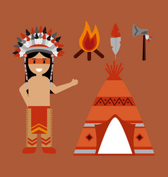 native american indian character teepee axe and vector image