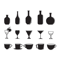 silhouette of glass bottles and cups vector image