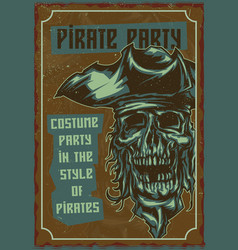 the dead pirate in hat vector image