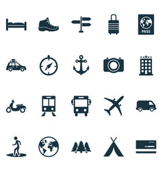 Traveling icons set with boat stability sneaker vector