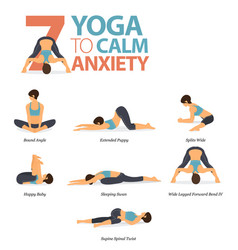 7 yoga poses to calm anxiety vector