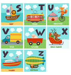 Alphabet card with transport and animals s to z vector